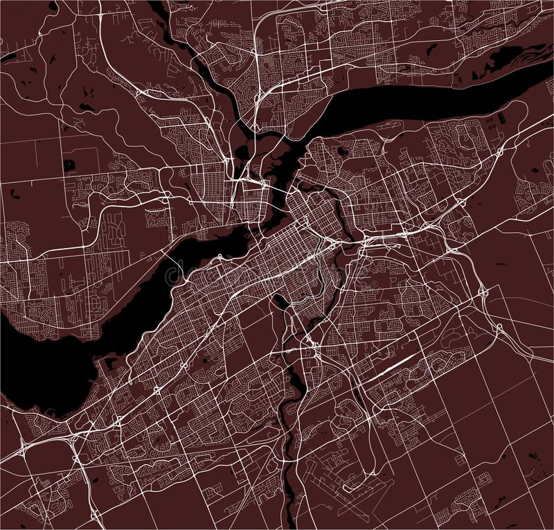 Map of the city of Ottawa, Ontario, Canada. Vector map of the city of Ottawa, Ontario, Canada royalty free stock images