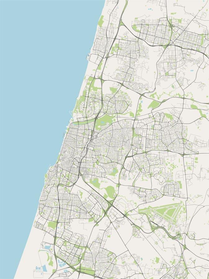 map of tel aviv  israel  satellite view stock illustration