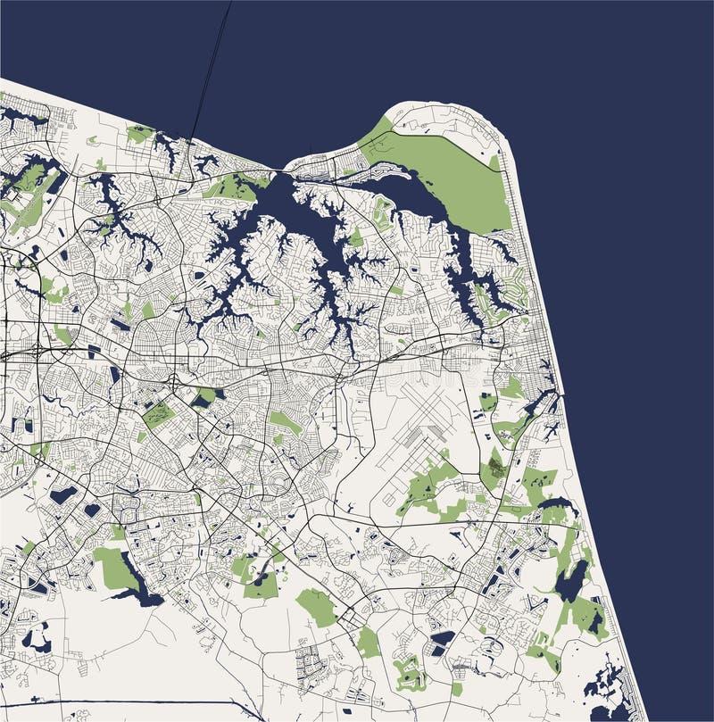 Map of the city of Virginia Beach, Virginia, USA. Vector map of the city of Virginia Beach, Virginia, United States America stock illustration