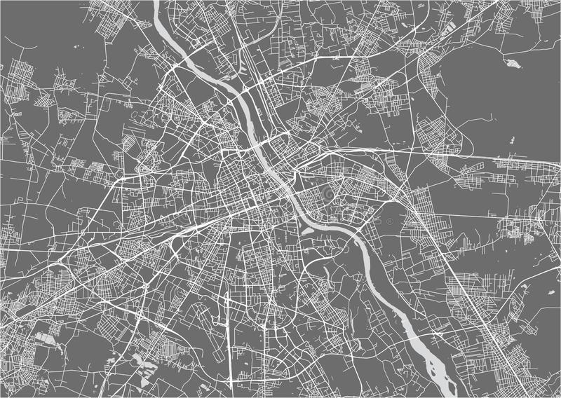 Map of the city of Warsaw, Poland. Vector map of the city of Warsaw, Poland royalty free illustration