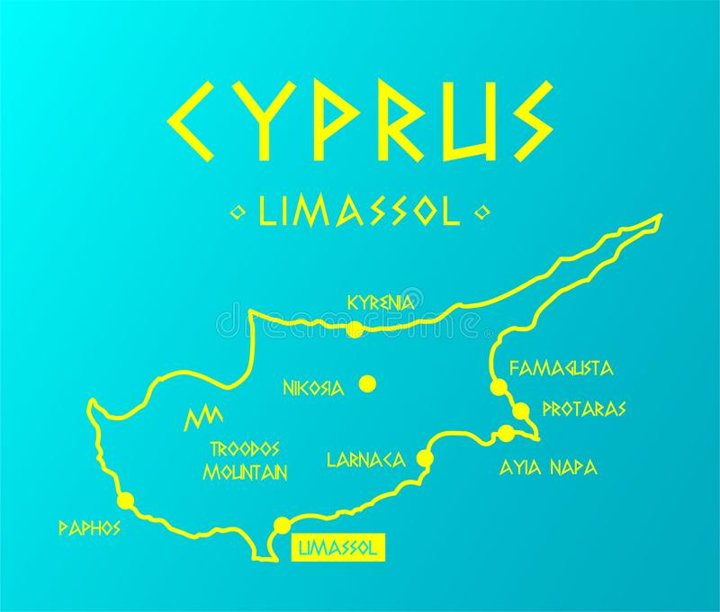 Vector map Cyprus with cities and capital Nicosia royalty free illustration