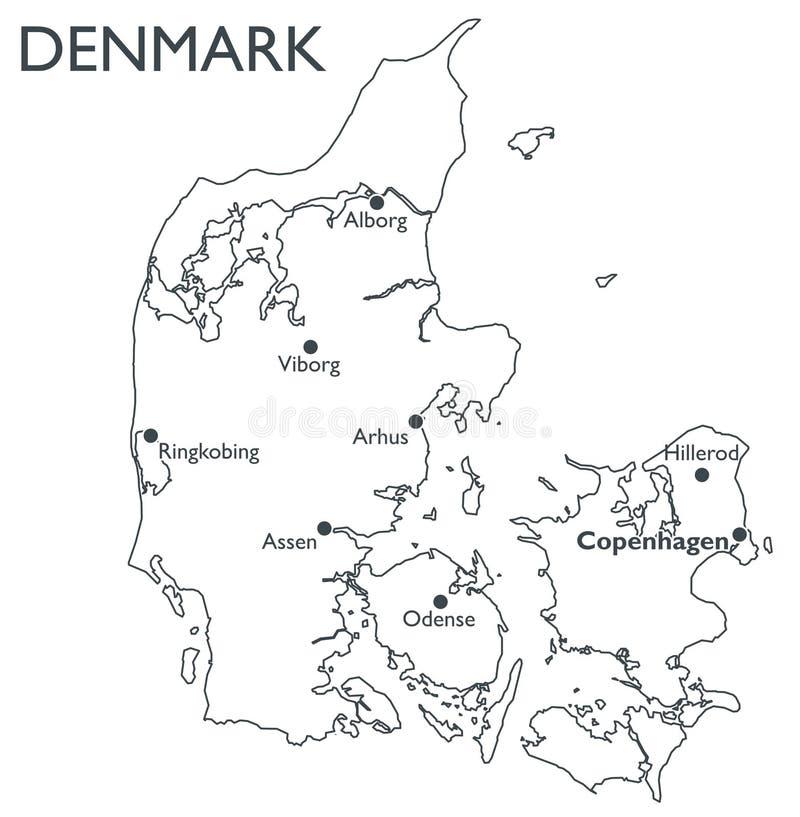 Vector map of Denmark stock vector Illustration of political 81495819