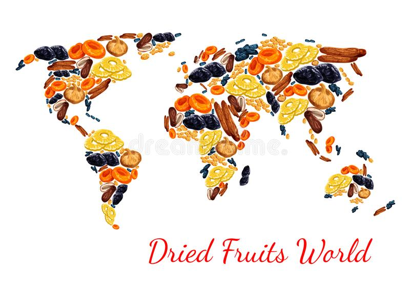 Vector map of dried fruits snacks raisins, prunes. Dried fruits poster world map combined of sweet dry fruit snacks. Vector dried raisins, prunes or apricot and stock illustration