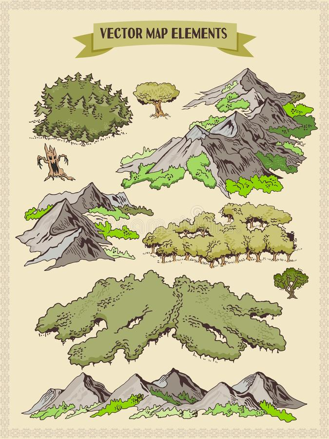 Vector map elements, colorful, hand draw - forest, tree, wood 1 vector illustration