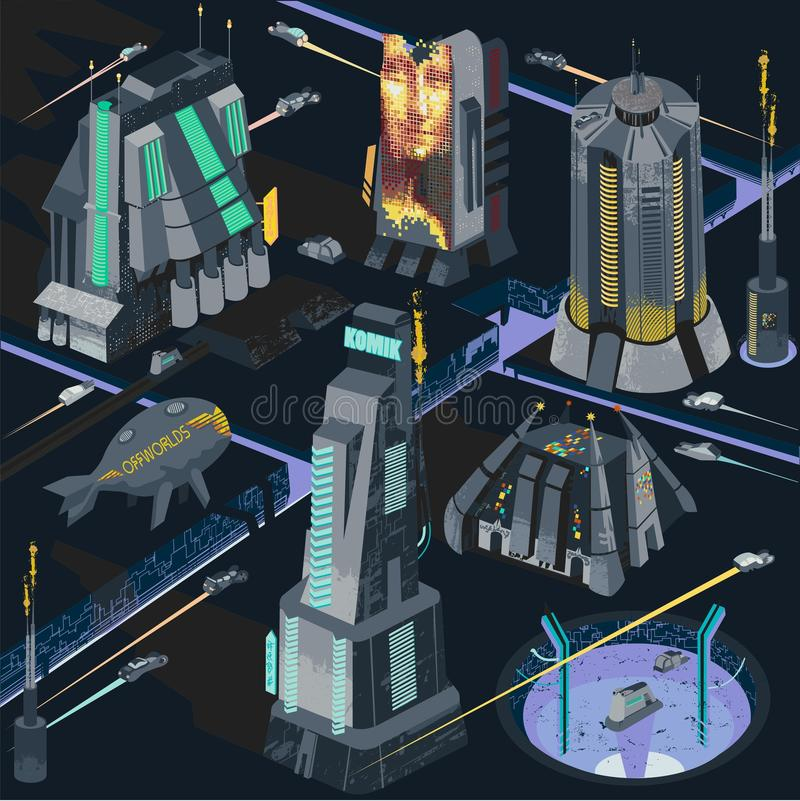 Vector map elements of futuristic neo noir city in colorfule dystopia illustration cyberpunk scene royalty free illustration