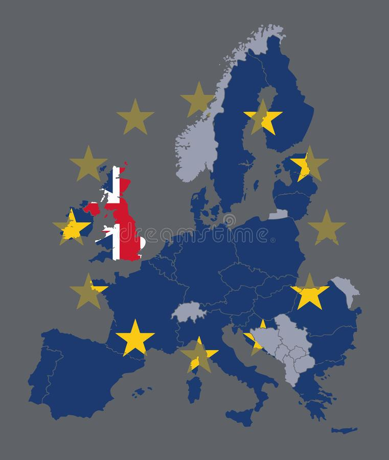 Vector map of EU member states with European Union flag and the UK singled out with United Kingdom flag during Brexit process. Concept stock illustration