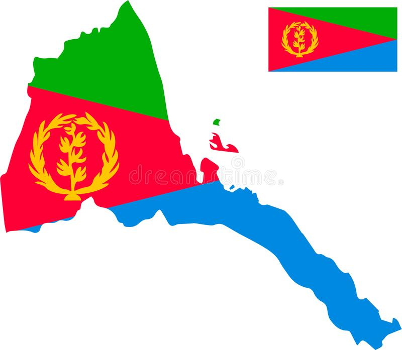 Vector map of Eritrea with flag. Isolated, white background vector illustration