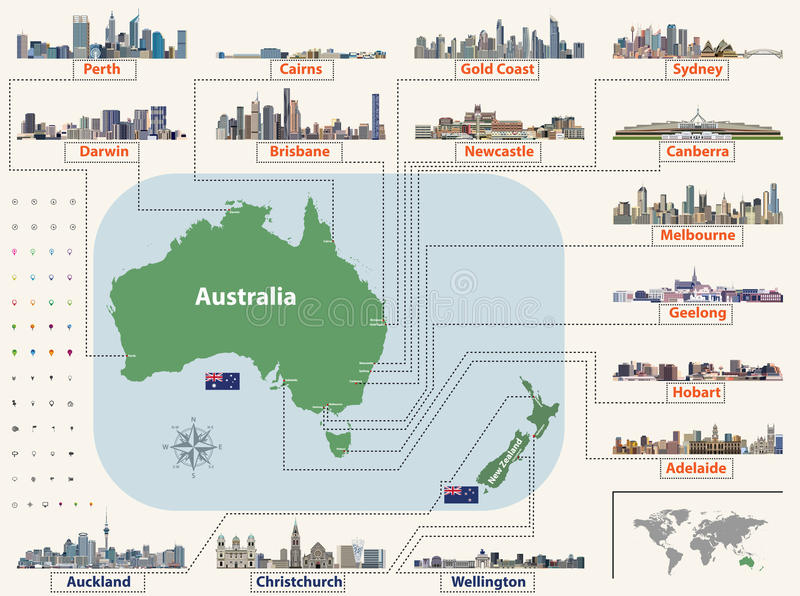 Vector map and flags of Australia and New Zealand with largest cities skylines. Location, navigation and travel icons stock illustration