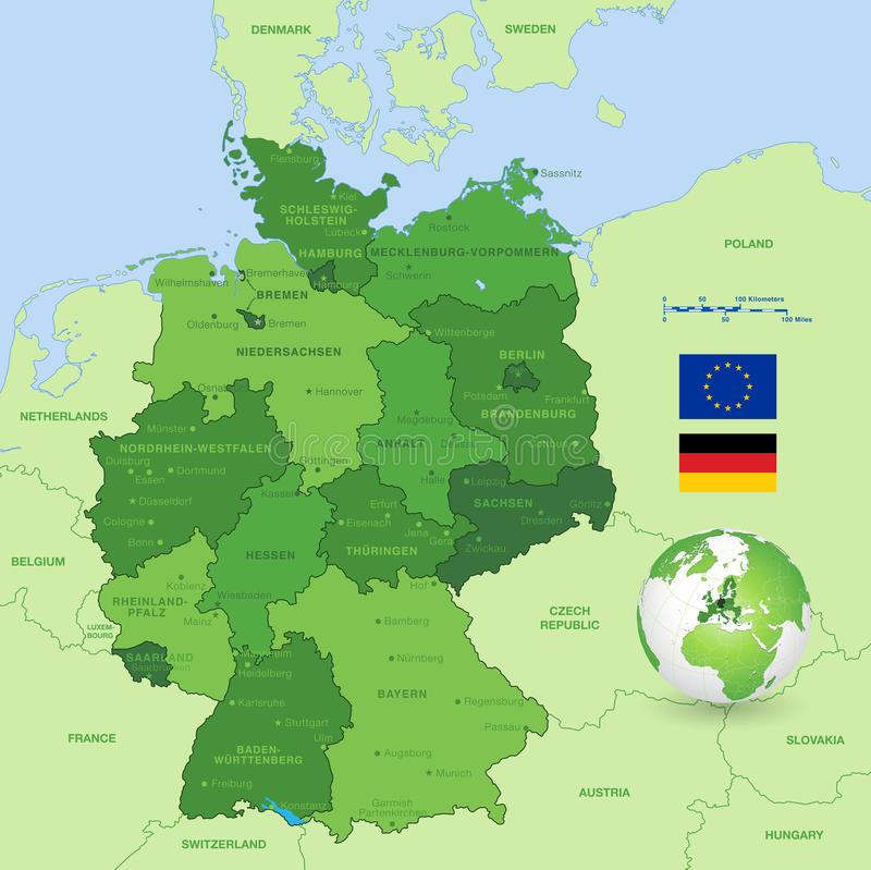 Vector Map of Germany stock vector. Illustration of computer - 55512844