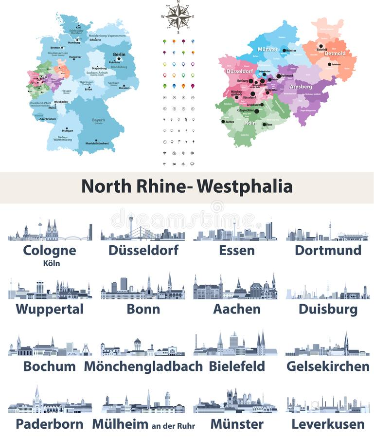 Vector map of Germany with state Norrth Rhine-Westphalia map separately with largest cities skylines icons in tints of blue color. Palette royalty free illustration