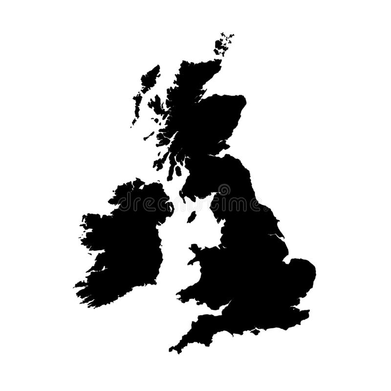 Vector map Great Britain. Isolated vector Illustration. Black on White background vector illustration