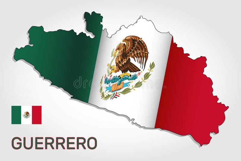 Vector map of Guerrero state combined with waving Mexican national flag - Vector. Vector map of Guerrero state combined with waving Mexican national flag royalty free illustration