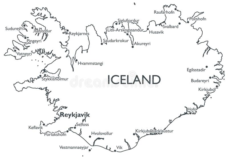 Vector map of Iceland stock vector. Illustration of akureyri - 81486937