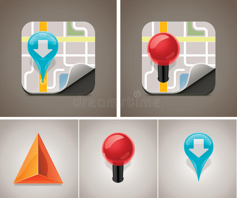 Vector map icon set. Detailed square icon representing map with markers