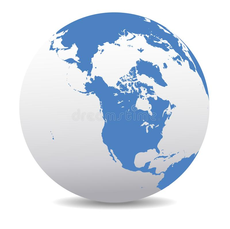 Canada, North America, Siberia and Japan Global World. Vector Map Icon of the World Globe North America Alaska, Canada, Siberia, Global World, Planet Earth royalty free illustration