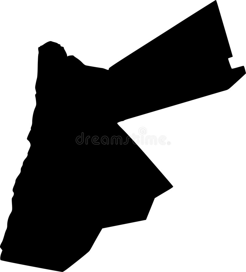 Vector map of jordan. Black vector map of jordan royalty free illustration