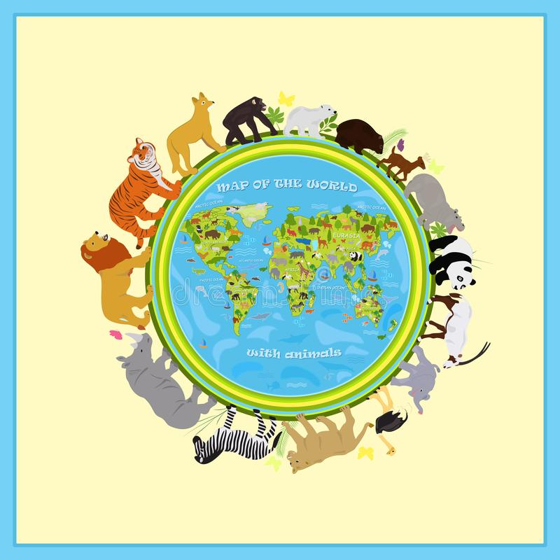 Vector map of land with animals around the planet royalty free illustration