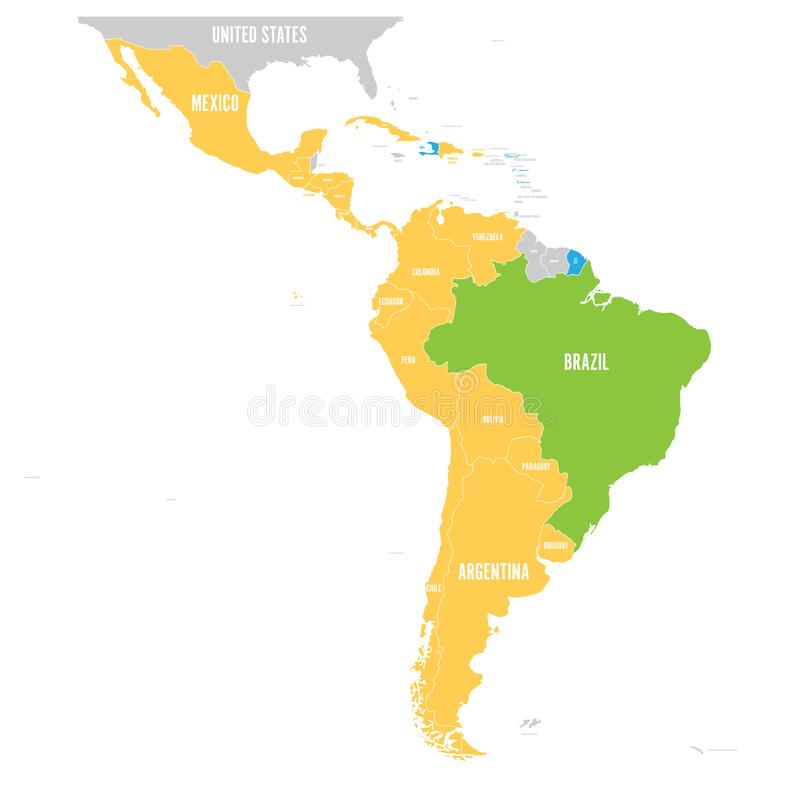 Vector map of Latin America with differently highlighted language groups - Spanish, Portuguese and French royalty free illustration