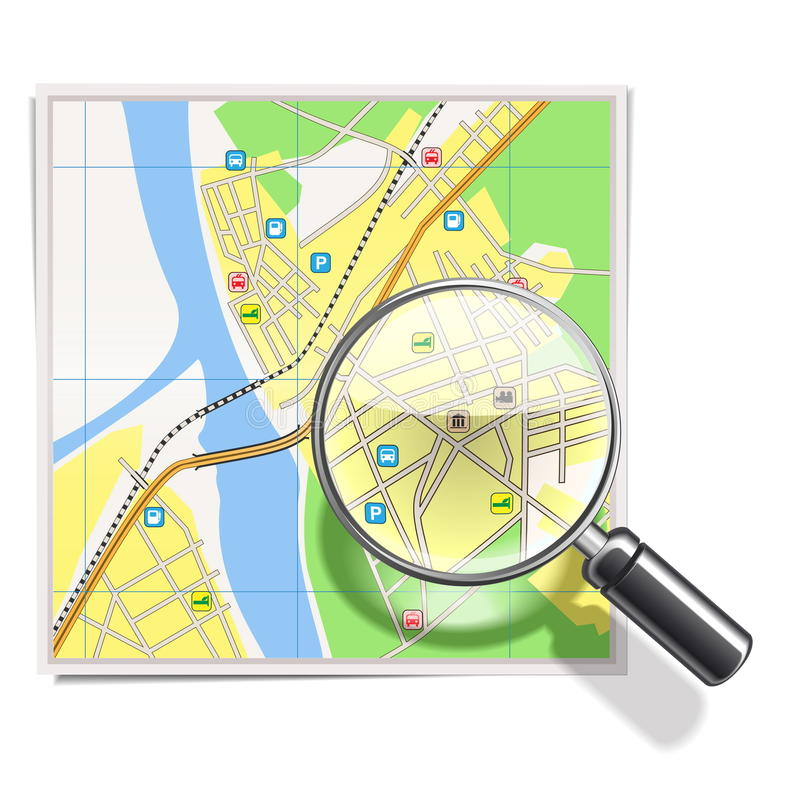 Download Vector Map with Lens stock vector. Illustration of plan - 33688710
