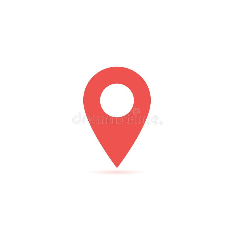 Vector map location icon isolated with soft shadow. Element for design ui app website interface. Blank template. Position pin vector illustration