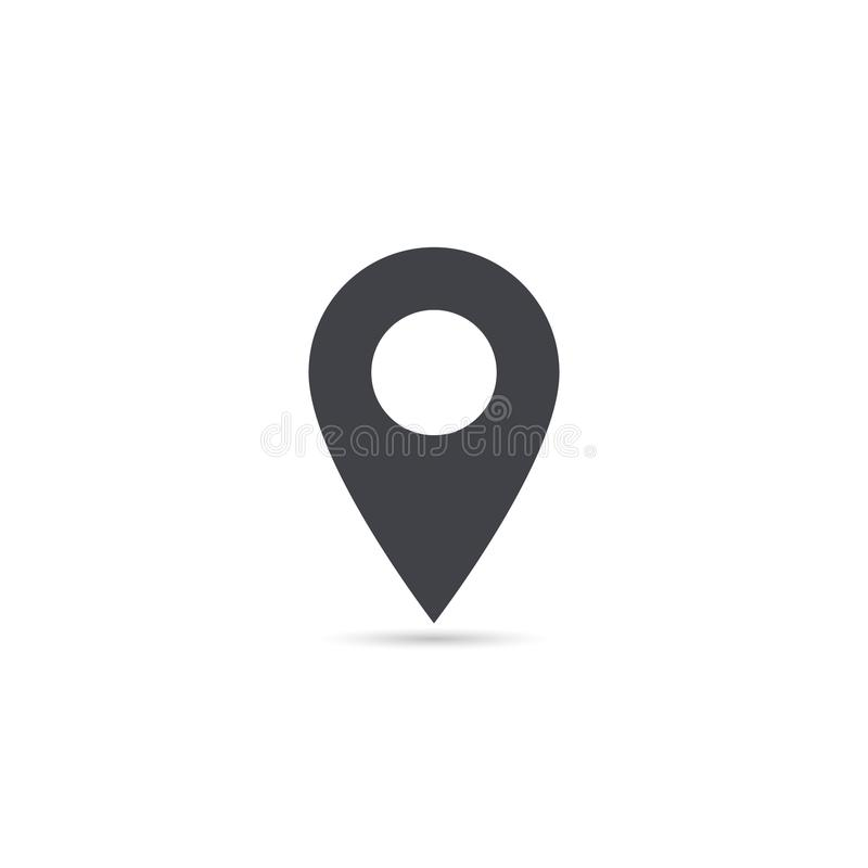 Vector map location icon isolated with soft shadow. Element for design ui app website interface. Blank template. Position pin.  stock illustration