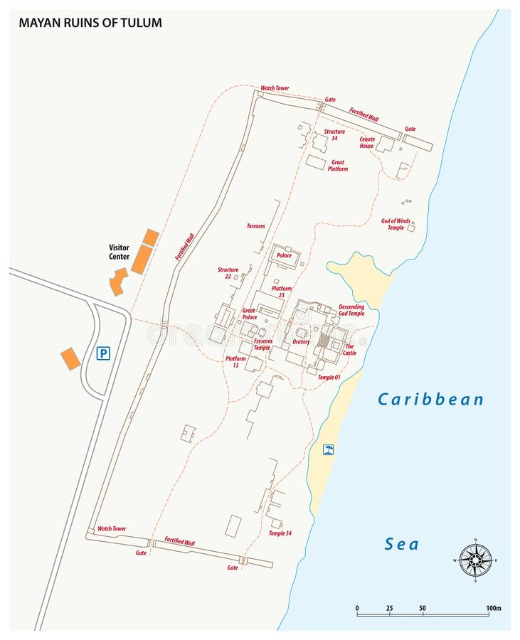 Vector map of the Mayan Ruins of Tulum, Mexico vector illustration
