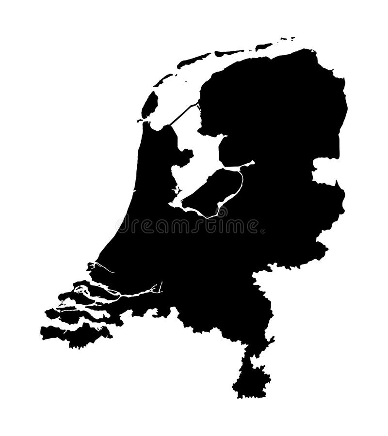 Vector map of the Netherlands silhouette. Silhouette map of Holland illustration. High detailed map of the Netherlands silhouette isolated on white background stock illustration