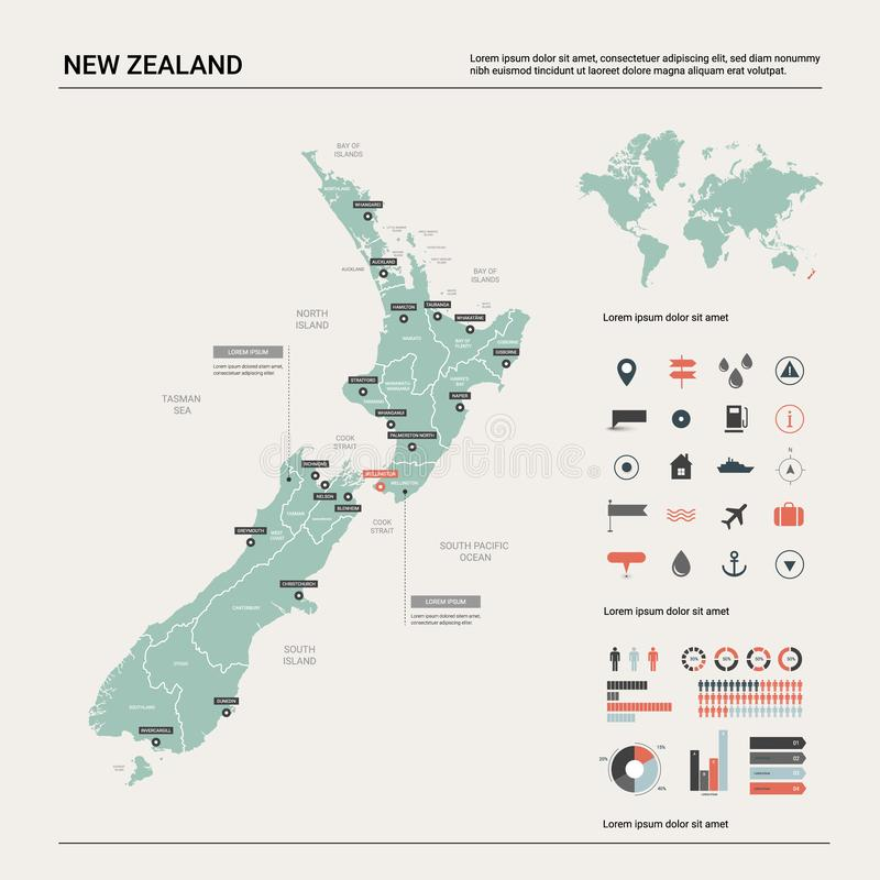 Vector map of  New Zealand. royalty free illustration