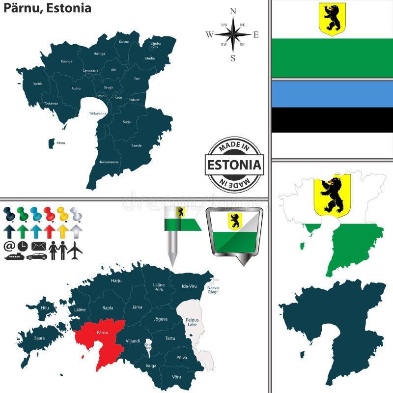 Map of parnu estonia stock vector illustration of regions 105102813 vector map of parnu region and location on estonian map estonia gumiabroncs Images