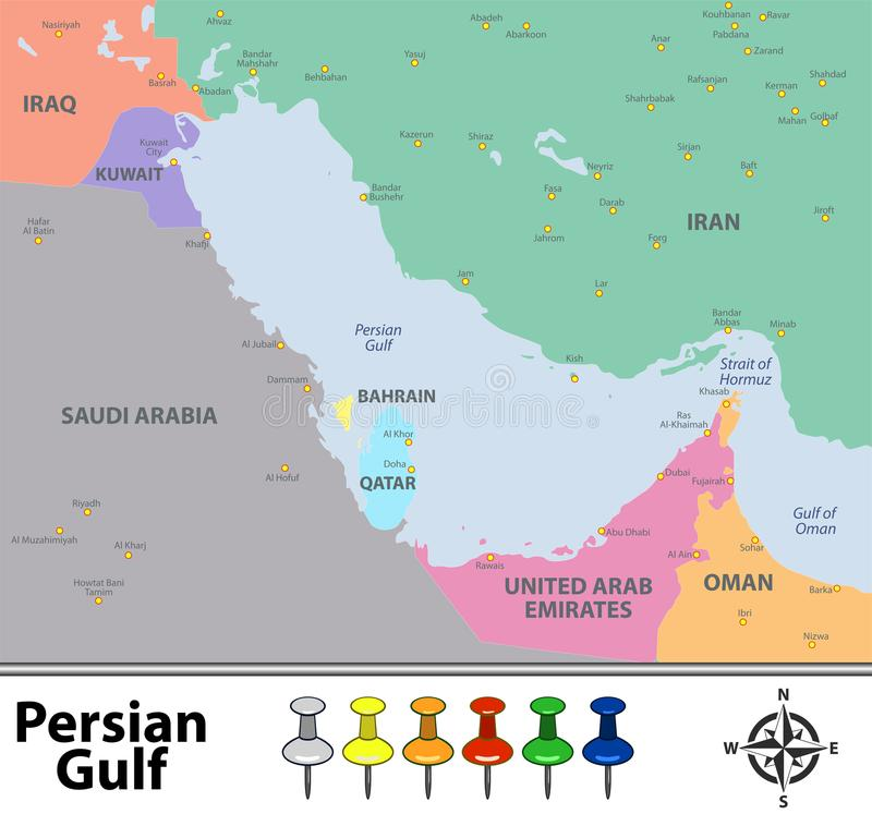 download map of persian gulf stock vector illustration of world 110675673