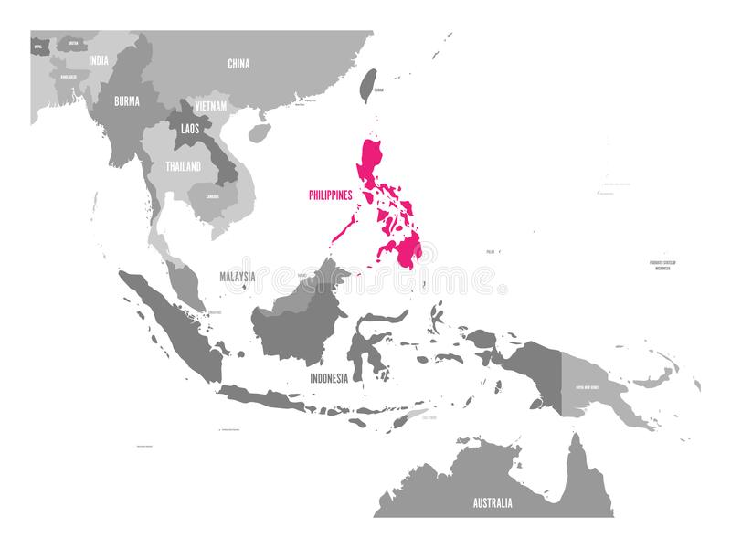 Vector map of philippines pink highlighted in southeast asia region download vector map of philippines pink highlighted in southeast asia region stock vector illustration gumiabroncs Image collections