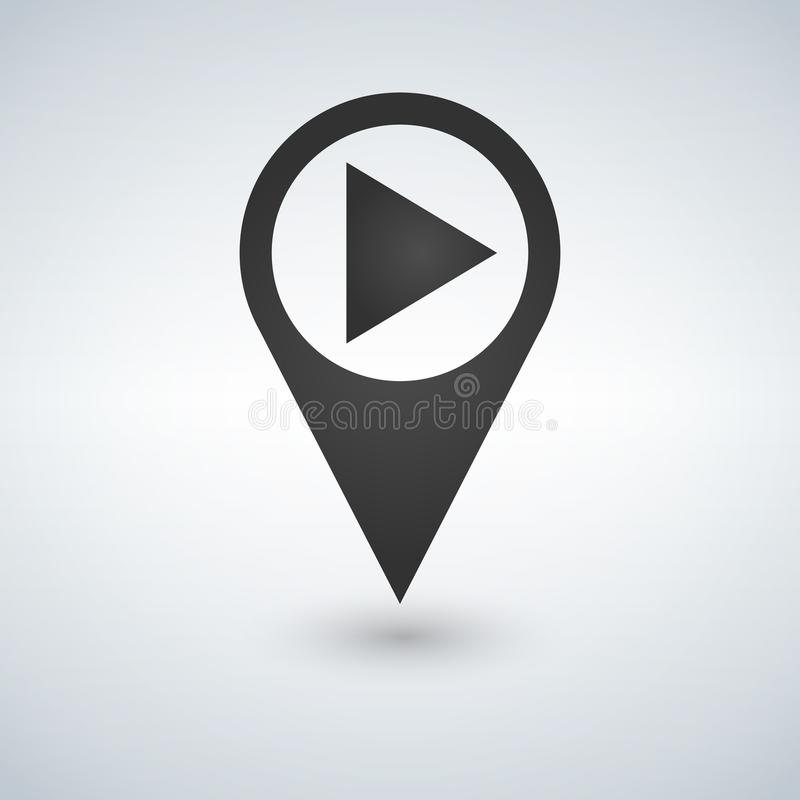 Vector of map pointer and button play. GPS locator and record symbol or icon. vector illustration