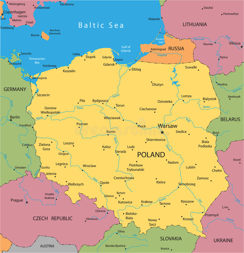 Vector map of Poland. With mayor cities stock illustration