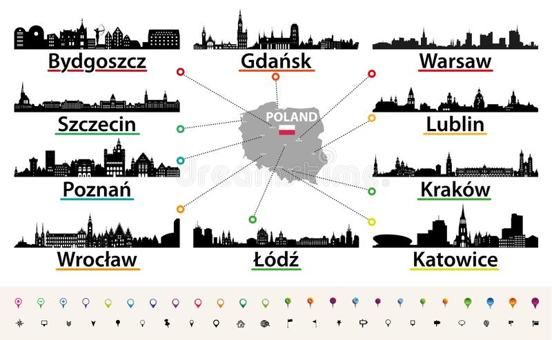 Vector map of Poland with largest city skylines silhouettes. Vector map of Poland with largest city skylines stock illustration