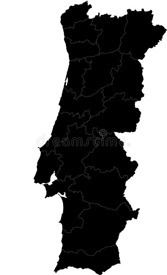 Vector map of Portugal. Blind map of Portugal with regions borders. Names of the regions, main cities, and neighbouring countries are in an additional format ( stock illustration