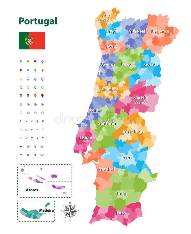 Vector map of Portugal districts and autonomous regions, subdivided into municipalities. Each region have own color palette. Flag vector illustration