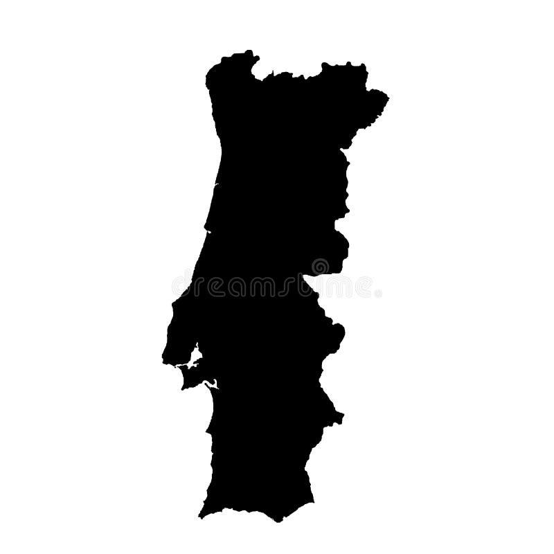 Vector map Portugal. Isolated vector Illustration. Black on White background. stock illustration