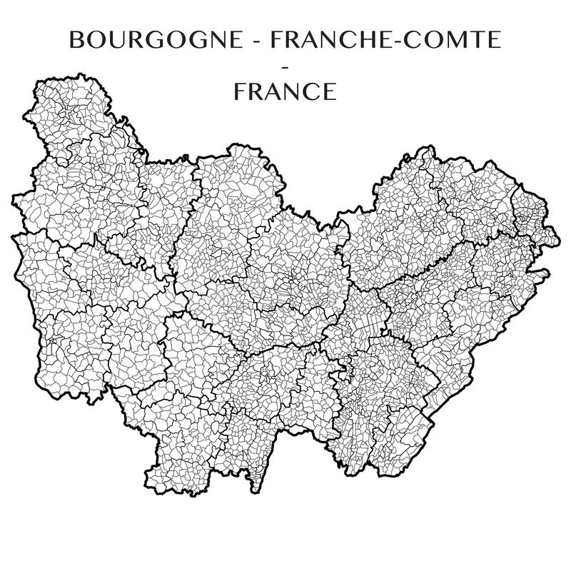 Vector Map Of The Region Bourgogne FrancheComte France Stock