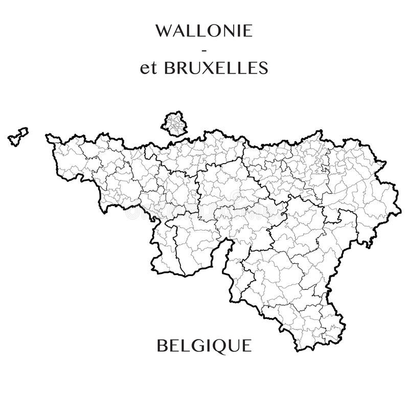 Vector Map Of The Regions Of Wallonia And Brussels Capital Belgium