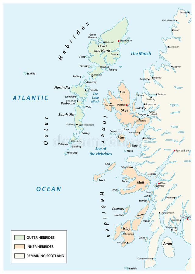 Vector map of scottish archipelago hebrides at the north west coast of scotland.  stock illustration