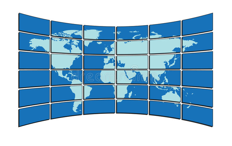 Vector - map on screens. Vector illustration - map on screens stock illustration