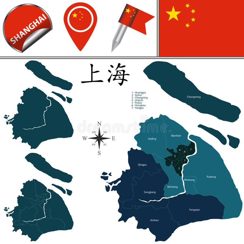 Map of Shanghai with Districts. Vector map of Shanghai with named districts and travel icons. There are chinese characters in a set - it means Shanghai stock illustration