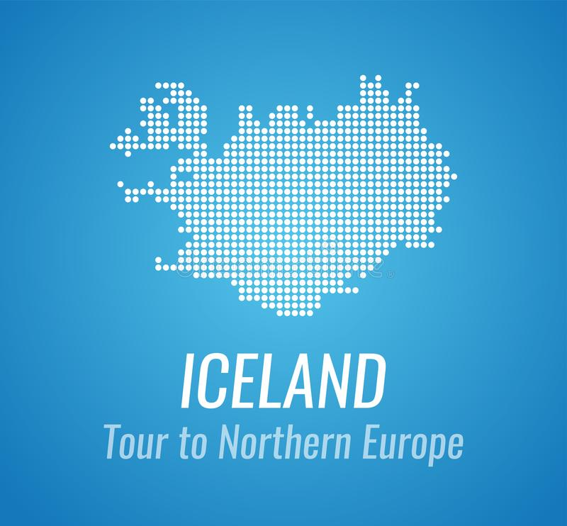 Vector map silhouette of Iceland with caption and tagline - Map of Dots white color on blue background. Vector map silhouette of Iceland with caption and vector illustration