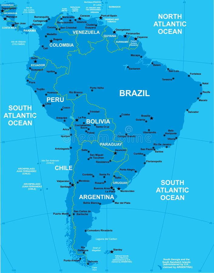 Vector Map Of Southern America Stock Vector - Illustration ...