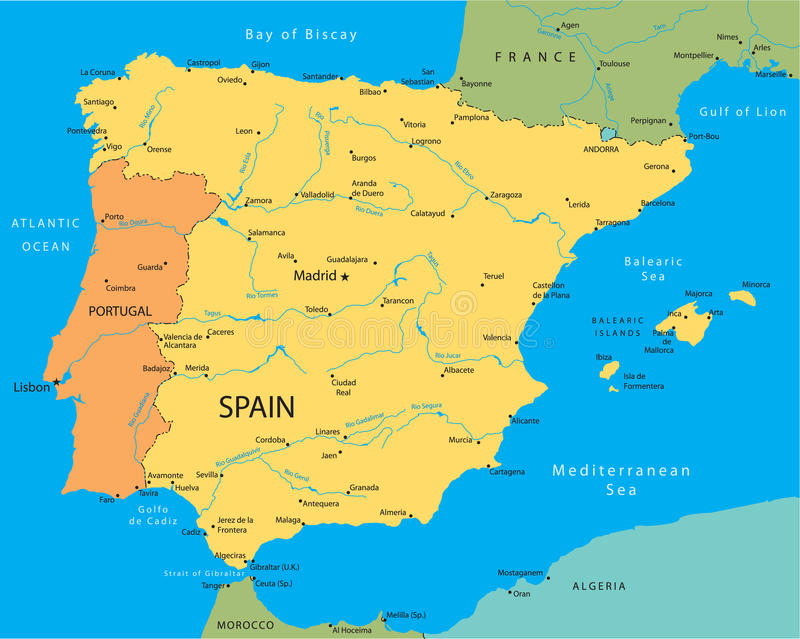 download vector map of spain stock vector illustration of portugal 11400721
