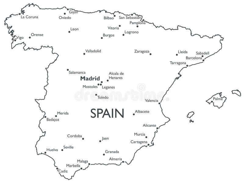 Black And White Map Of Spain Site Image With Black And White Map Of