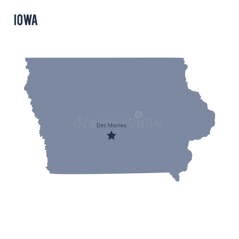 Vector map State of Iowa isolated on white background. vector illustration