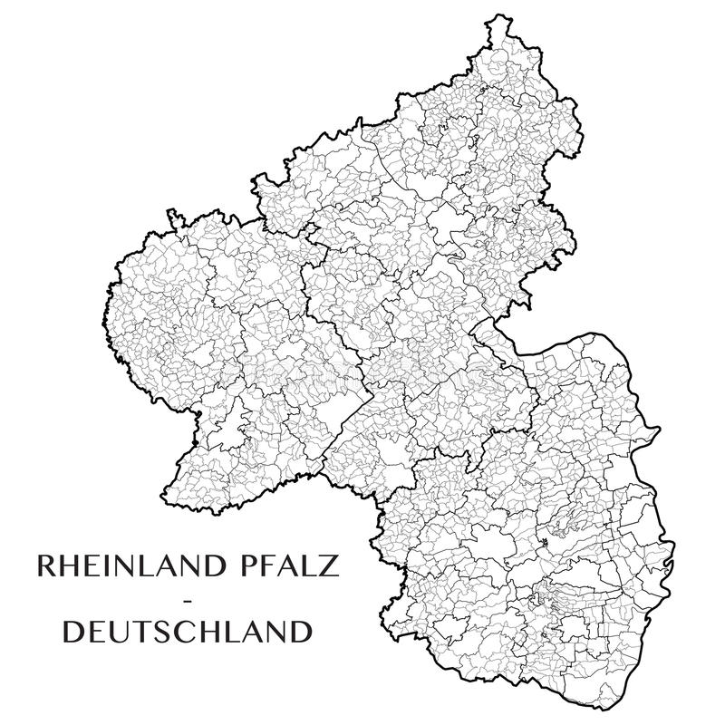 Vector Map Of The State Of Rhineland Palatinate Germany Stock