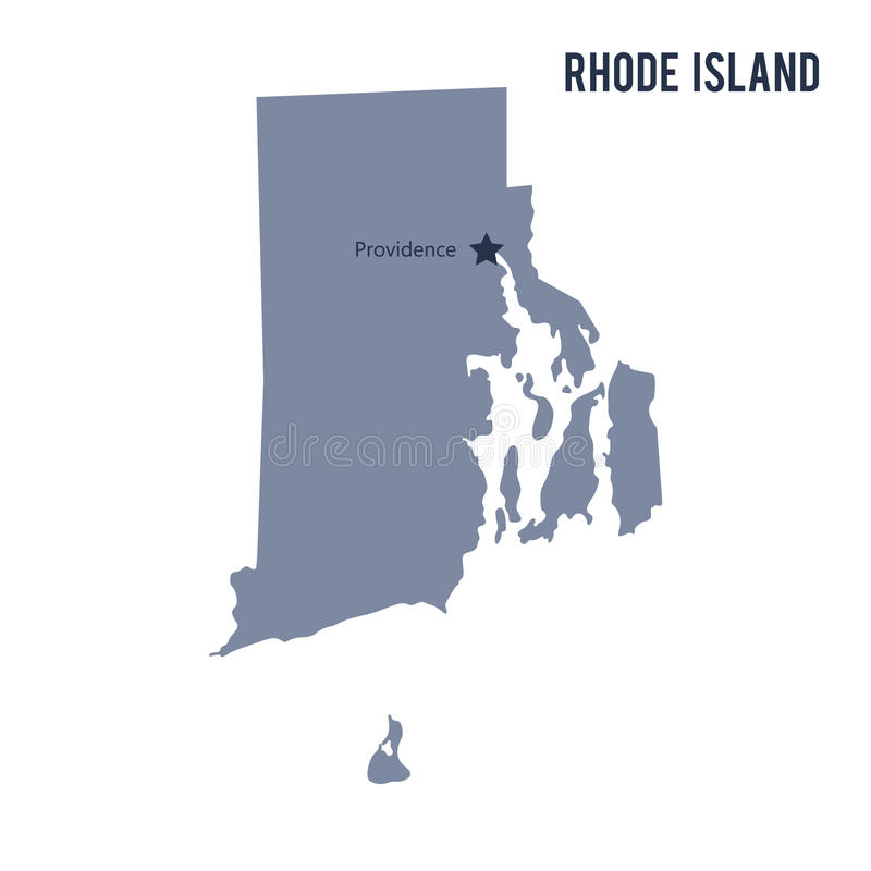 Vector map State of Rhode Island isolated on white background. stock illustration