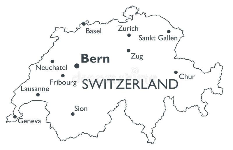 Vector map of Switzerland stock vector Illustration of sankt 81489364